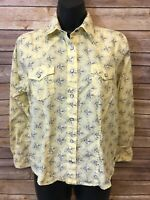 Womens ROCKIES Pearl Snap Shirt Size Large Yellow long Sleeve Button Down top