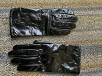 Worthington Women's Leather Driving Dress Gloves Medium Black Lined Patent Sexy!