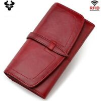 Women RFID Red Leather Long Clutch Large Wallet Zip Card ID Holder Phone Purse
