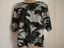 Topshop Black Silver Palm Tree Jacquard Stretch Boxy Top - Size 12