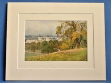GREENWICH GREATER LONDON VINTAGE DOUBLE MOUNTED WATER COLOUR PRINT c1930 10 X 8