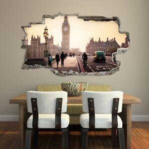 ADESIVO MURALE WALL STICKERS SQUARCIO MURO ARREDO LONDON LONDRA 3D