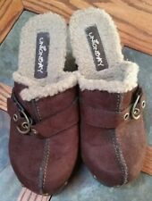 Women's Size 6 Union Bay Clogs Shoes  Brown Suede with Fleece Slip Ons