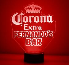 Personalized Corona Extra Beer Logo Bar Sign Mancave Led Light Remote Control