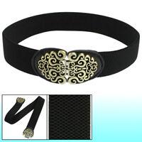Cintura elastica nero Fibbia in tono bronzo per donna R5P4 R3J2