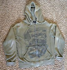 OBEY Clothing Men's Punk Cassette Tapes Green Full Zip Hoodie Size Large Used
