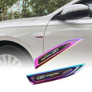 2x Mugen Neo Chrome Metal Carbon Fiber Emblem Car Trunk Side Wing Fenders Badge