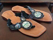 45cdfbdf56ef3a Mystique Black Shell Crystals Flats Flip Flop Sandals T-Strap Thong Bling  US 7