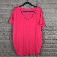 Lane Bryant Women Tee Plus 26/28 Pink Burnout Ruched Sides V Neck Short Sleeve