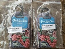 New listing Good Luck Sock SLOTHS & FLOWERS ~Active Fit~Womens sz 5-9~2 pairs☆☆NEW WITH TAGS