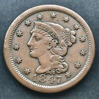1847 Large Cent Braided Hair One Cent ERROR above ear XF High Grade 4845