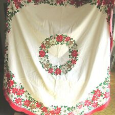 Vintage Christmas tablecloth Round Holly Poinsettia Sunweave Linens Corp