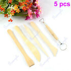 5pcs Double Side Clay Pottery Wax Sculpture Modeling Carving Wood Tools Set New