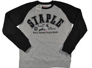 Staple ARCHE 2 RAGLAN CREWNECK Heather Gray Black Logo Patch Men's Sweatshirt