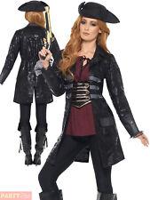 Smiffy's 47359L Pirate Jacket Ladies Womens Black Large UK 16-18