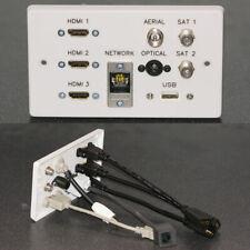 AV Wall Face Plate, 3 HDMI / TV / 2 Sat / Optical TOS Audio / USB / Cat6 network
