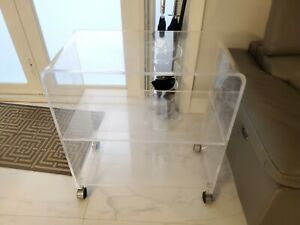 VINTAGE 1970's LUCITE BAR CART WATERFALL STYLE ON WHEELS MID CENTURY MODERN MCM