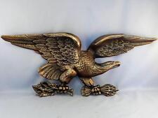 "Large 24"" Vintage c1950 Gilt BRONZE Metal American Eagle Wall Sculpture~Plaque"