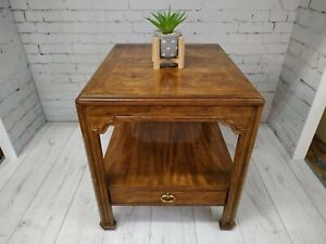 Vintage Drexel Heritage Sketchbook Hall Table Console Burl Wood Parquetry VGC