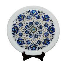 White Marble Decorative Plate Rare Stones Pietra Inlay Work Home Decor Art