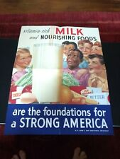 Vintage 1950s Poster H.P. Hood & Sons Dairy Milk - SCHOOL LUNCH rare
