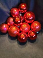 """12 Vintage Large 2 1/4"""" & 2 1/2"""" Coby Christmas Red Tree Ornaments, Orig Box 1&2"""