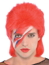 Mens Bowie Stardust Mullet Wig Adults 70s Rock Music Icon Fancy Dress Accessory
