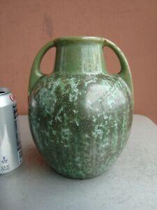 "Fulper Green 7.5"" Cucumber Crystalline Vase 1912-28"