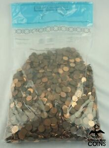 LOT OF 5000: ASSORTED DATE CANADIAN 1c PENNY COINS