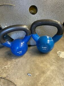 (2) 10 LB Kettlebell Pair Set Hand Weights 20 Pounds Total Rubber Coated