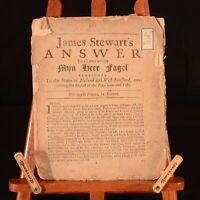 1688 James Stewart's Answer to a Letter Mijn Heer Fagel Glorious Revolution