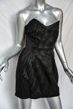 ELIZABETH AND JAMES Black Moire Silky STRAPLESS LBD Short Bustier Dress 6