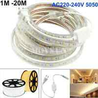1m 3m 5m 10m 15m 20m 220-240V 5050 SMD 60 LED/M Flexible Rope LED Strip+ EU Plug