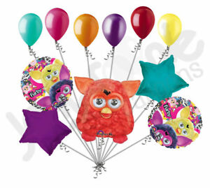 11 pc Red Furby & Friends Balloon Bouquet Party Decoration Happy Birthday Toy