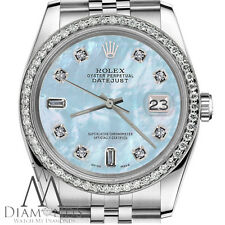 Ladies Rolex 26mm Datejust Baby Blue MOP Mother Of Pearl 8+2 Diamond Dial Watch