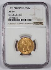 Australia 1866 (SY) Sovereign Sov Gold Coin NGC AU58 Sydney Mint KM#4 Choice AU