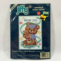 Dimensions Sunset Mini Cross Stitch Kit 5x7 New Baby Birth Record Teddy Bears