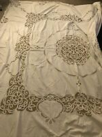 "Vtg Antique Linen Lace Embroidered Banquet Tablecloth & 6 Napkins 102""x102""HUGE"