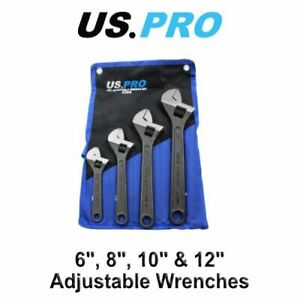 """US PRO 4pc Adjustable Wrench / Shifting Spanner Set 6"""" 8"""" 10"""" 12"""" - 2204"""