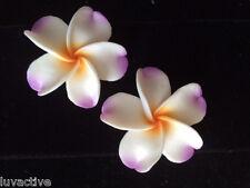 "Hawaiian Plumeria Flower Fimo Fashion Jewelry Post Earring WHITE PURPLE 1.5"" 38m"