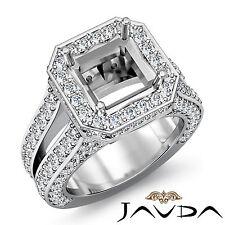 Diamond Engagement Halo Ring Princess Semi Mount 14k W Gold Split Shank 2.52Ct