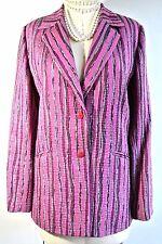 Pink Womens JACKET 14 cotton Stripped Work 2 button basic blazer Blue ICE