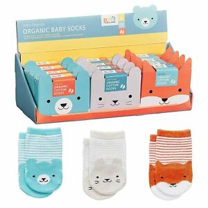 Petit Collage Organic Baby Socks - Animal Designs - 0-6 months **FREE DELIVERY**