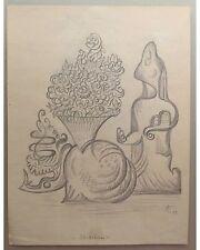 Alois Erbach: Stilleben - Kubistisch phantastische Bleistiftzeichnung 1948 sign.