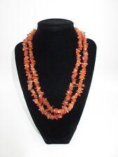 Statement Necklace Bright Orange Brown Stone Rocks Long Strand Beach Boho CHIC