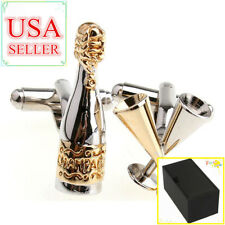 Fashion Men Cufflinks Silver Gold Bottle & Glass Cuff Links With Gift Box