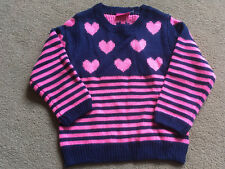 NEXT Girls Pink Blue Stripe Heart Jumper 4-5 Years