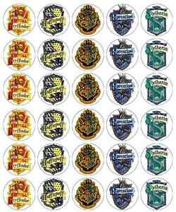 30x Harry Potter Crest Cupcake Toppers Edible Wafer Paper Fairy Cake Toppers