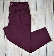 Jessica London Women's Pull-On Pants Straight Leg Slacks Casual Burgundy Plus 22