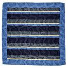 "SANTOSTEFANO Handmade Blue 15"" Stripe Silk Pocket Square Handkerchief NWT 150"